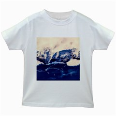 Antarctica Mountains Sunrise Snow Kids White T-Shirts