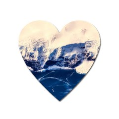 Antarctica Mountains Sunrise Snow Heart Magnet