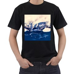 Antarctica Mountains Sunrise Snow Men s T-Shirt (Black) (Two Sided)
