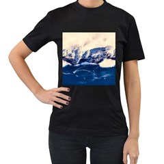 Antarctica Mountains Sunrise Snow Women s T-Shirt (Black) (Two Sided)