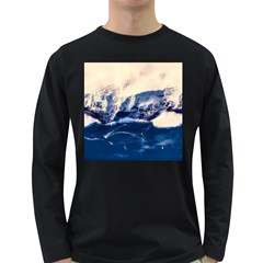 Antarctica Mountains Sunrise Snow Long Sleeve Dark T-Shirts