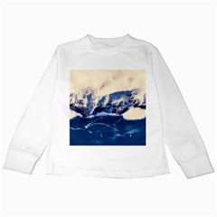 Antarctica Mountains Sunrise Snow Kids Long Sleeve T-Shirts
