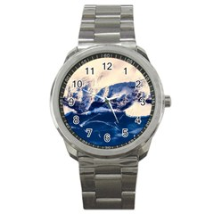 Antarctica Mountains Sunrise Snow Sport Metal Watch