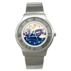 Antarctica Mountains Sunrise Snow Stainless Steel Watch