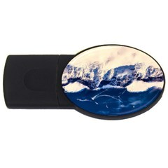 Antarctica Mountains Sunrise Snow USB Flash Drive Oval (4 GB)