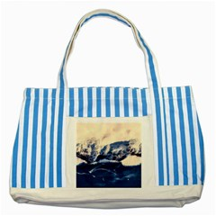 Antarctica Mountains Sunrise Snow Striped Blue Tote Bag