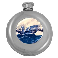 Antarctica Mountains Sunrise Snow Round Hip Flask (5 Oz) by BangZart