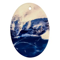 Antarctica Mountains Sunrise Snow Oval Ornament (Two Sides)
