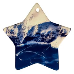 Antarctica Mountains Sunrise Snow Star Ornament (Two Sides)