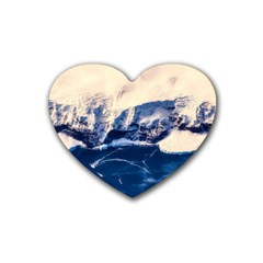 Antarctica Mountains Sunrise Snow Rubber Coaster (Heart)