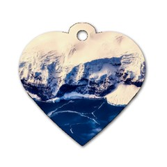 Antarctica Mountains Sunrise Snow Dog Tag Heart (One Side)