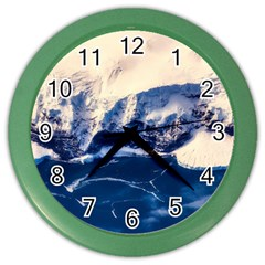 Antarctica Mountains Sunrise Snow Color Wall Clocks