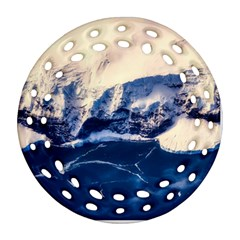 Antarctica Mountains Sunrise Snow Round Filigree Ornament (Two Sides)