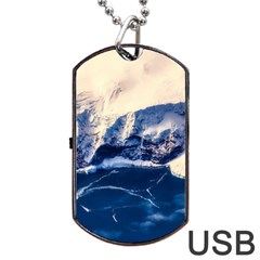 Antarctica Mountains Sunrise Snow Dog Tag USB Flash (One Side)