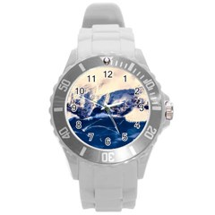 Antarctica Mountains Sunrise Snow Round Plastic Sport Watch (l) by BangZart