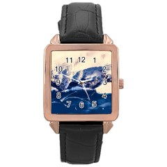 Antarctica Mountains Sunrise Snow Rose Gold Leather Watch  by BangZart