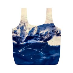 Antarctica Mountains Sunrise Snow Full Print Recycle Bags (M)