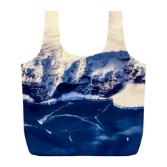Antarctica Mountains Sunrise Snow Full Print Recycle Bags (L)