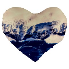 Antarctica Mountains Sunrise Snow Large 19  Premium Flano Heart Shape Cushions by BangZart