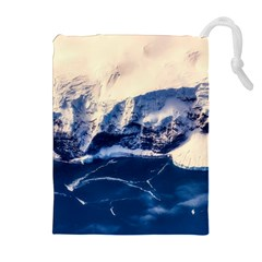 Antarctica Mountains Sunrise Snow Drawstring Pouches (Extra Large)