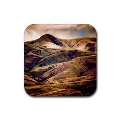Iceland Mountains Sky Clouds Rubber Coaster (square)  by BangZart