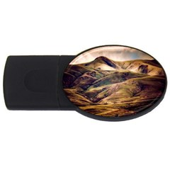 Iceland Mountains Sky Clouds Usb Flash Drive Oval (2 Gb) by BangZart