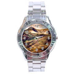 Iceland Mountains Sky Clouds Stainless Steel Analogue Watch