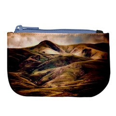 Iceland Mountains Sky Clouds Large Coin Purse