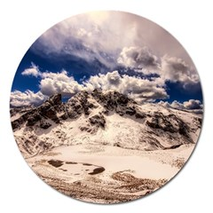 Italy Landscape Mountains Winter Magnet 5  (round)