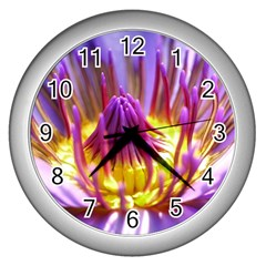 Flower Blossom Bloom Nature Wall Clocks (silver)  by BangZart