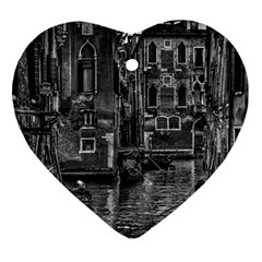 Venice Italy Gondola Boat Canal Heart Ornament (two Sides) by BangZart