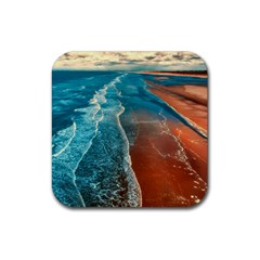 Sea Ocean Coastline Coast Sky Rubber Square Coaster (4 Pack)