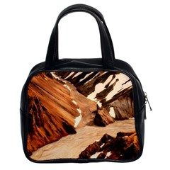 Iceland Mountains Snow Ravine Classic Handbags (2 Sides)