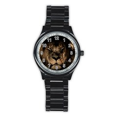 African Lion Mane Close Eyes Stainless Steel Round Watch
