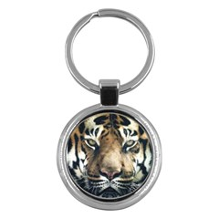 Tiger Bengal Stripes Eyes Close Key Chains (round)