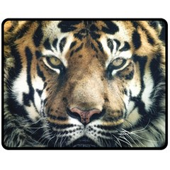 Tiger Bengal Stripes Eyes Close Double Sided Fleece Blanket (medium)  by BangZart