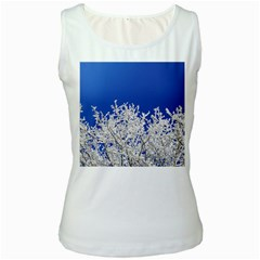 Crown Aesthetic Branches Hoarfrost Women s White Tank Top