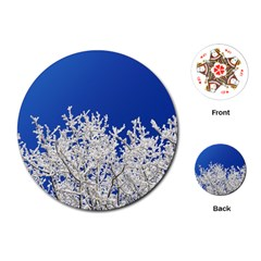 Crown Aesthetic Branches Hoarfrost Playing Cards (round)