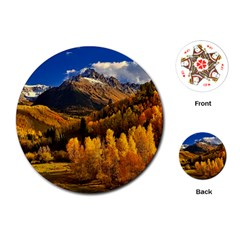 Colorado Fall Autumn Colorful Playing Cards (round)  by BangZart