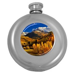 Colorado Fall Autumn Colorful Round Hip Flask (5 Oz) by BangZart