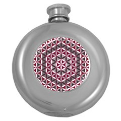 Flower Of Life Pattern Red Grey 01 Round Hip Flask (5 Oz)