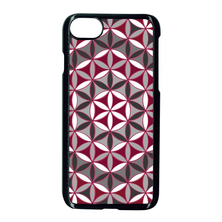 Flower Of Life Pattern Red Grey 01 Apple iPhone 7 Seamless Case (Black)