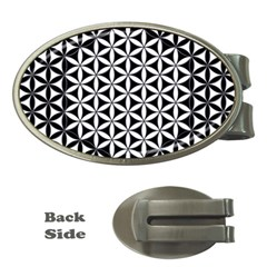 Flower Of Life Pattern Black White 1 Money Clips (oval)