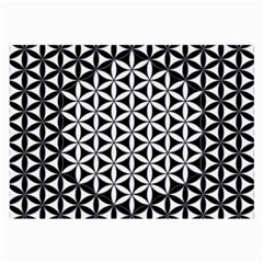 Flower Of Life Pattern Black White 1 Large Glasses Cloth (2 Side) by Cveti