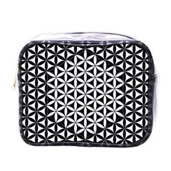Flower Of Life Pattern Black White 1 Mini Toiletries Bags by Cveti