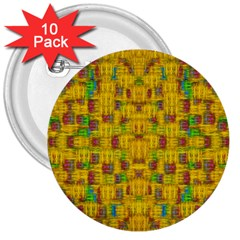 Rainbow Stars In The Golden Skyscape 3  Buttons (10 Pack)  by pepitasart