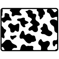 Animal Print Black And White Black Double Sided Fleece Blanket (large)