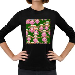 Seamless Tile Repeat Pattern Women s Long Sleeve Dark T Shirts