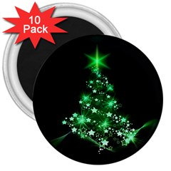 Christmas Tree Background 3  Magnets (10 Pack)  by BangZart