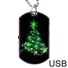 Christmas Tree Background Dog Tag Usb Flash (one Side) by BangZart